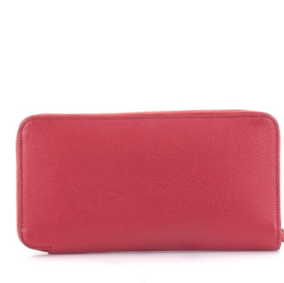 1984d6d615ac HERMES Rouge Tomate Epsom Leather Silk in Wallet. M 5b3d990961974561847850c9